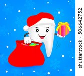 christmas tooth concept. teeth... | Shutterstock .eps vector #506642752