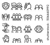 friendship   friend icon set in ... | Shutterstock .eps vector #506660992