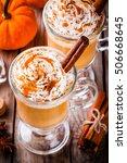 pumpkin spice latte with... | Shutterstock . vector #506668645