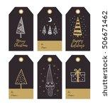 set of merry christmas gift... | Shutterstock .eps vector #506671462