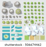 set of landscape elements.  top ... | Shutterstock .eps vector #506674462