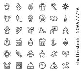 christmas icon set in thin line ... | Shutterstock .eps vector #506677726