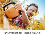hedge trimming works in a... | Shutterstock . vector #506678146
