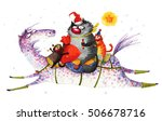 cats galloping on a horse ... | Shutterstock . vector #506678716