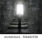man climbing old concrete... | Shutterstock . vector #506682538