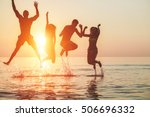 silhouettes of young friends... | Shutterstock . vector #506696332
