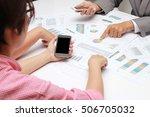 human hands of group coworkers... | Shutterstock . vector #506705032