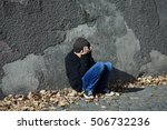 young homeless boy sleeping on... | Shutterstock . vector #506732236