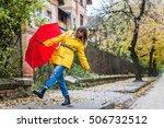 enjoying autumn days. woman in...   Shutterstock . vector #506732512