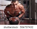 muscular man doing push ups... | Shutterstock . vector #506737432