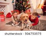 joyful boy and girl are playing ... | Shutterstock . vector #506753575