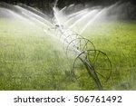 irrigation wheel line sprinkler ... | Shutterstock . vector #506761492