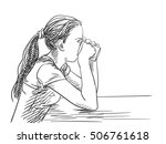 sketch of teenage girl drinking ... | Shutterstock .eps vector #506761618