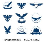 Stock vector set of black and white eagles emblems 506767252