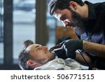 the barber man in the process... | Shutterstock . vector #506771515