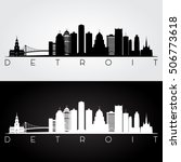 detroit usa skyline and... | Shutterstock .eps vector #506773618