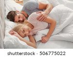 happy loving couple is sleeping ...   Shutterstock . vector #506775022