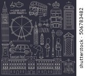 collection of london symbols... | Shutterstock .eps vector #506783482
