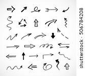 hand drawn arrows  vector set | Shutterstock .eps vector #506784208