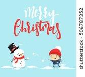 snowman cartoon character... | Shutterstock .eps vector #506787352