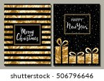 set of two greeting card. merry ... | Shutterstock .eps vector #506796646