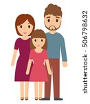 parents and daughter cartoon... | Shutterstock .eps vector #506798632