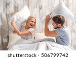cheerful loving couple is... | Shutterstock . vector #506799742