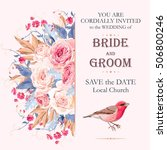 vintage wedding invitation | Shutterstock .eps vector #506800246