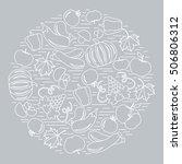 set of autumn seasonal fruits... | Shutterstock .eps vector #506806312