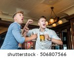 friends drink beer and  rejoice ... | Shutterstock . vector #506807566
