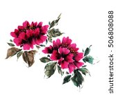 peony flowers in a traditional... | Shutterstock . vector #506808088