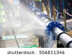 burst pipe with water | Shutterstock . vector #506811346