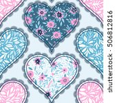 seamless pattern with hearts.... | Shutterstock .eps vector #506812816
