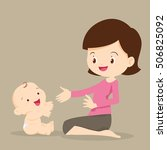 mother playing with baby.cute... | Shutterstock .eps vector #506825092