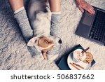 woman in cozy home wear... | Shutterstock . vector #506837662