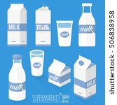 fresh natural milk vector icon... | Shutterstock .eps vector #506838958