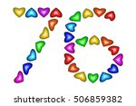 number 76 of colorful hearts on ... | Shutterstock .eps vector #506859382