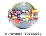 speech bubble flags with world  ... | Shutterstock . vector #506862052