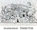 hipster hand drawn crazy doodle ... | Shutterstock .eps vector #506867236