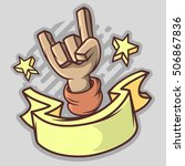 cartoon devil horns hand with a ... | Shutterstock .eps vector #506867836