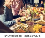people celebrating thanksgiving ... | Shutterstock . vector #506889376