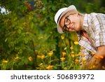 happy gardener doing her... | Shutterstock . vector #506893972