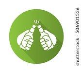 toasting beer bottles flat...   Shutterstock .eps vector #506901526