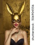 beautiful blonde young woman in ... | Shutterstock . vector #506904556