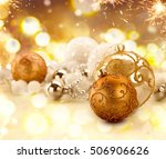 christmas background. golden... | Shutterstock . vector #506906626