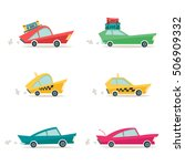 six different cars. old cartoon ... | Shutterstock .eps vector #506909332