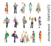 shopping people set. | Shutterstock . vector #506914372