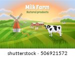 rural morning landscape with a... | Shutterstock .eps vector #506921572