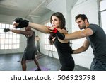 toned fitness boxing instructor ... | Shutterstock . vector #506923798