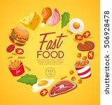 fast food elements   vector... | Shutterstock .eps vector #506928478